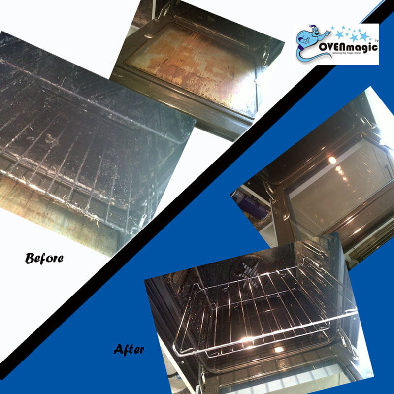 Before and After an oven clean by OvenMagic